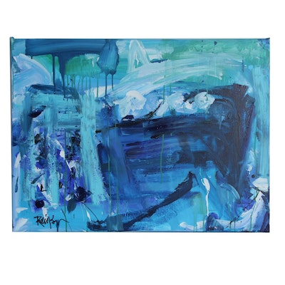 "Robbie Kemper Abstract Acrylic Painting ""Blues in Landscape"""