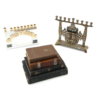 Hen-Holon and Oppenheim Israeli Made Menorahs with Judaism Prayer Books