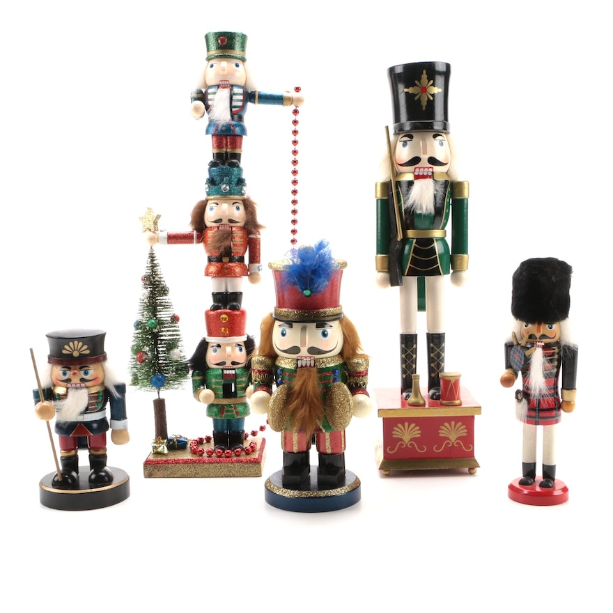 Handcrafted Painted Wood Nutcracker Figurines and Nutcracker Music Box