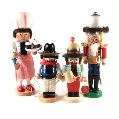 Steinbach Handmade German Baker, Cowboy, and Other Nutcrackers, Mid-Late 20th C.