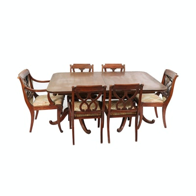 Drexel-Heritage Mahogany Double-Pedestal Dining Table and Chairs