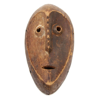 Lega Style Carved Wooden Mask, Central Africa