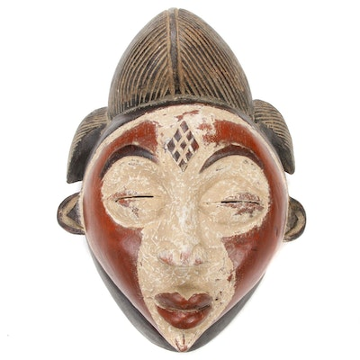 Punu Style Polychrome Carved Wooden Mask, Central Africa