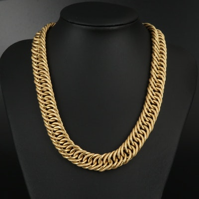 18K Double Curb Chain Necklace with Sapphire and Textured Accents