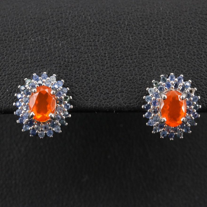 Sterling Fire Opal and Sapphire Halo Drop Earrings
