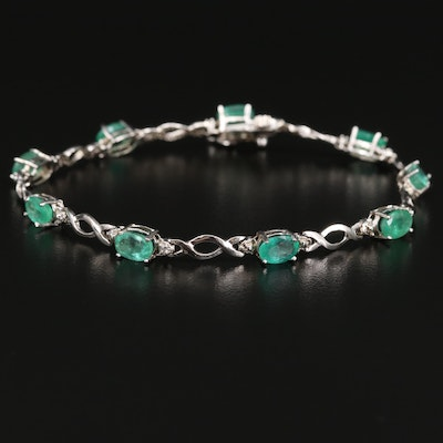 14K Emerald and Diamond Link Bracelet