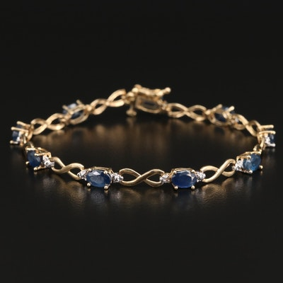 14K Sapphire and Diamond Infinity Link Bracelet