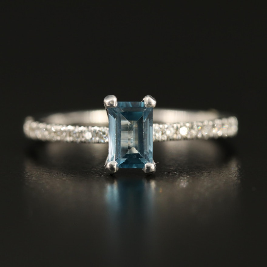 14K Topaz and Diamond Cathedral Ring
