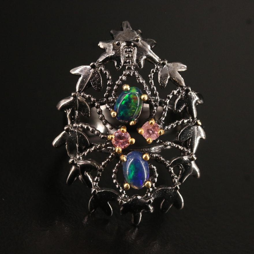 Oxidized Sterling Silver Opal and Tourmaline Foliate Motif Ring