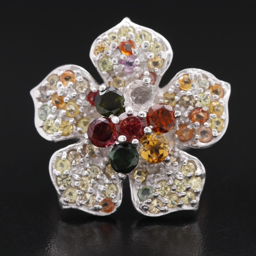 Sterling Silver Tourmaline, Garnet and Sapphire Flower Motif Ring
