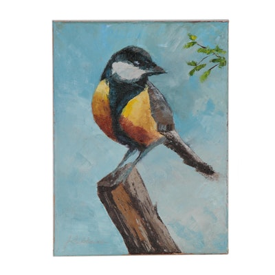 "James Baldoumas Oil Painting ""Bird on a Perch"", 2020"