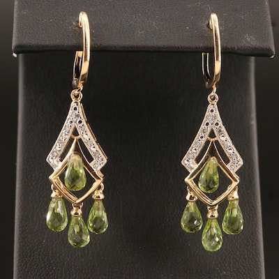 Sterling Silver Peridot and Diamond Girandole Earrings