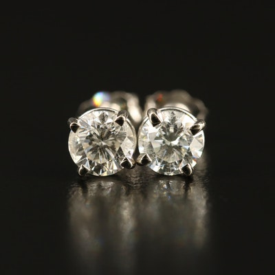 14K Gold 1.14 CTW Diamond Stud Earrings with GIA Reports
