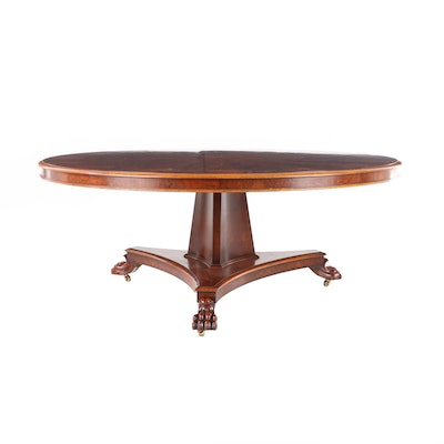 William IV Style Radial Stellar Walnut and Walnut-Stained Dining Table