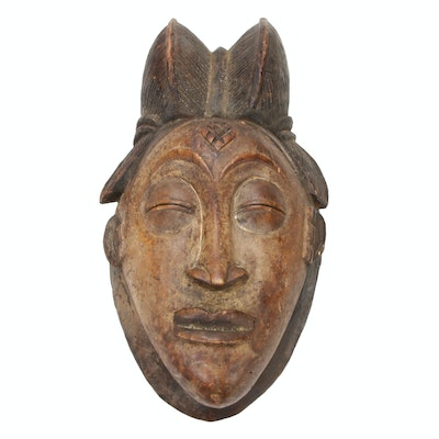 Punu Hand-Carved Wood Mask, Central Africa
