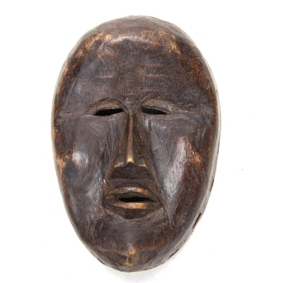 Bassa-Dan Style Hand-Carved Wood Mask, West Africa