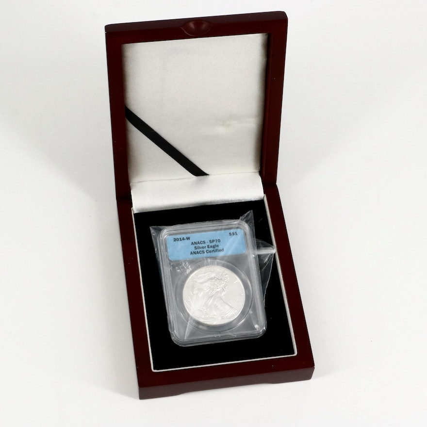 Low Mintage ANACS Graded SP70 2014-W Silver Eagle in Display Box