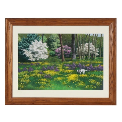Marcus Brewer Pastel Drawing of Park Scene with Dalmatian and Flowers