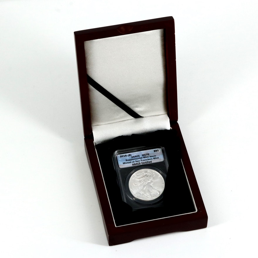 ANACS Graded MS70 2014(S) Bullion Silver Coin in Display Box