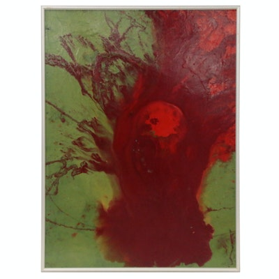 "Kurt Shaw Abstract Acrylic Pour Painting ""Tortricid,"" 1996"