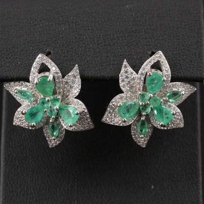 Sterling Silver Emerald and Cubic Zirconia Flower Earrings