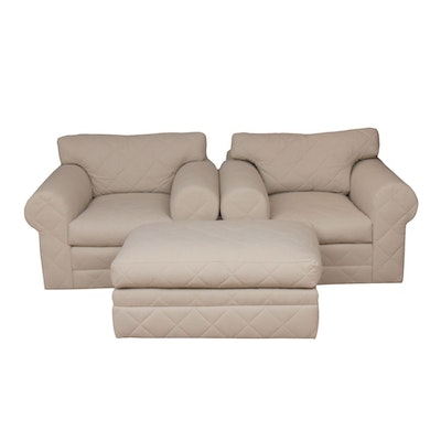 Ralph Lauren Quilted Fabric Upholstered Armchairs with Ottoman, 21st Century
