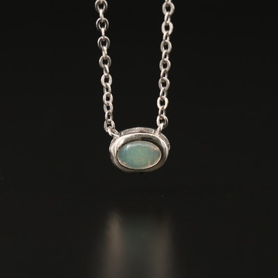 Sterling Silver Oval Opal Cabochon Necklace