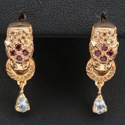 Aquamarine Feline Door Knocker Earrings with Garnet and Sapphire in Sterling