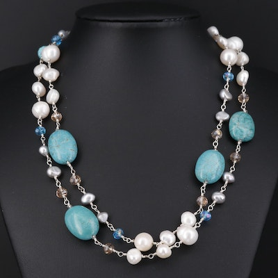 Sterling Silver Magnesite, Pearl and Quartz Beaded Necklace
