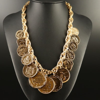 Franklin Mint Golden Caribbean Coin Necklace