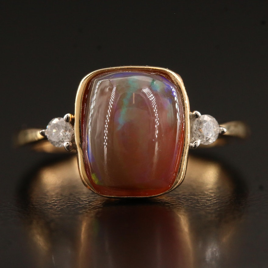 Sterling Silver Bezel Set Opal Ring with Diamond Accents and Euro Style Shank