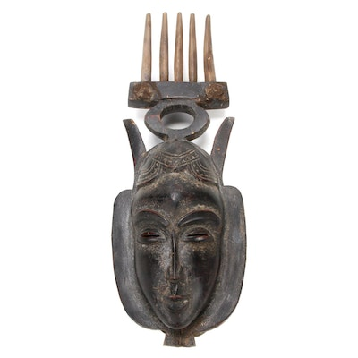 Yaure Style Carved Wood Mask, Côte d'Ivoire