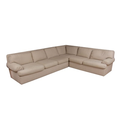 Woven Herringbone Upholstered Sectional Sofa