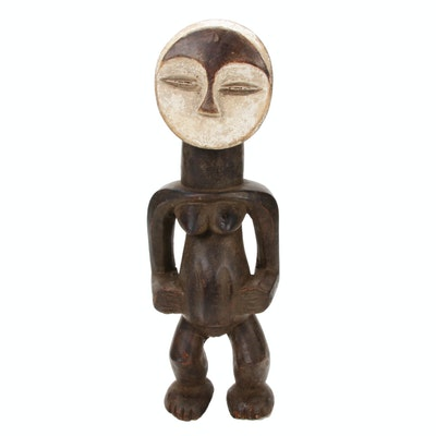 Kwele Style Carved Wood Standing Figure, Central Africa