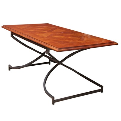 Wrought Metal and Parquetry Top Dining Table