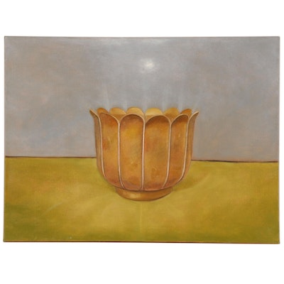 Clay Pot Still Life Oil Painting, 20th Century