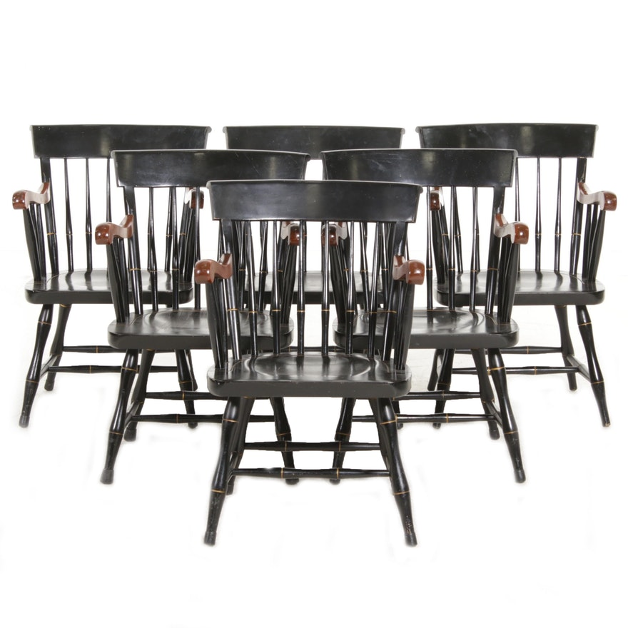 "Nichols & Stone ""Liberty"" Ebonized and Parcel Gilt Wood Armchairs"
