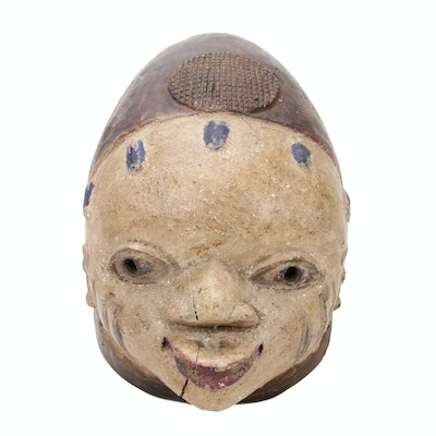 Yoruba Polychrome Carved Wood Mask, Nigeria