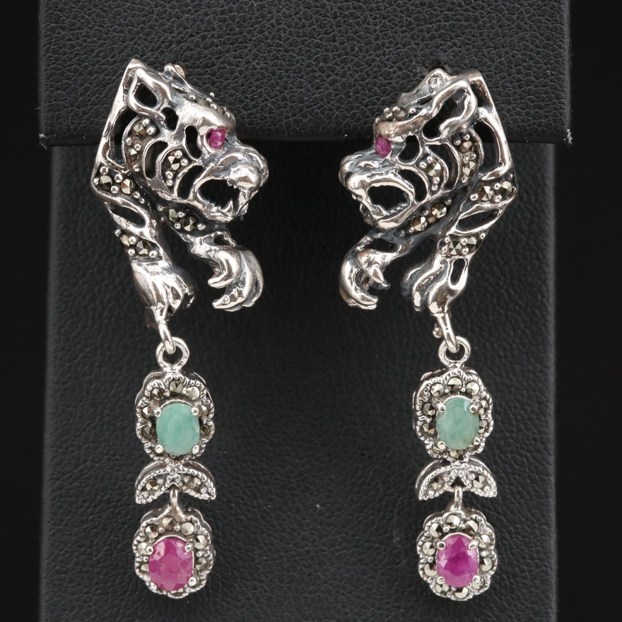 Sterling Silver Beryl, Corundum and Marcasite Tiger Earrings