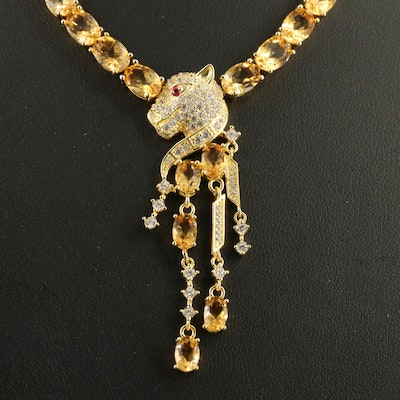 Sterling Silver Citrine, Ruby and Cubic Zirconia Feline Dangle Necklace