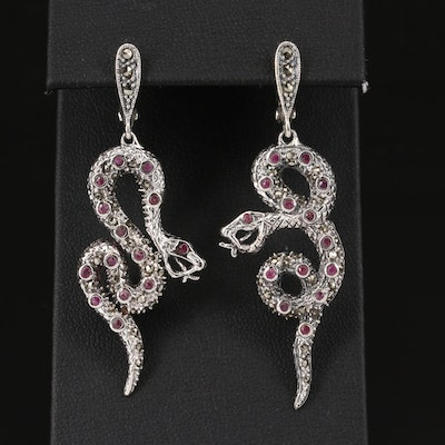 Sterling Silver Ruby and Marcasite Snake Earrings