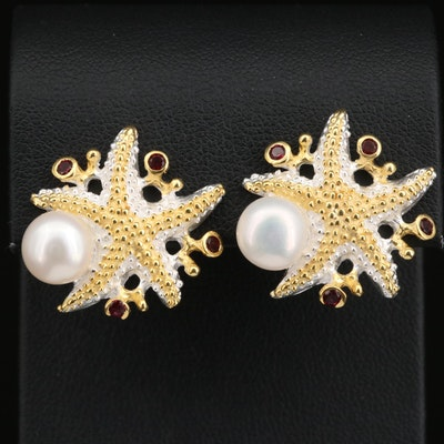 Sterling Silver Star Fish Earrings with Pearl and Garnet