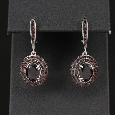 Sterling Garnet Dangle Earrings with Double Halo