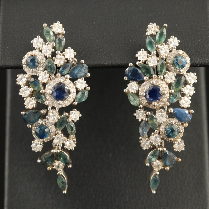 Sterling Silver Sapphire and Cubic Zirconia Cluster Earrings
