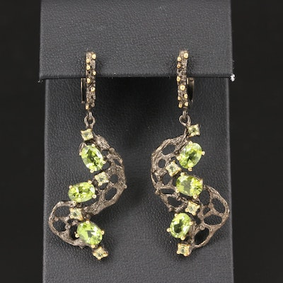 Sterling Silver Peridot Biomorphic Earrings