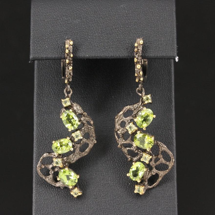 Sterling Silver Peridot Biomorphic Earrings