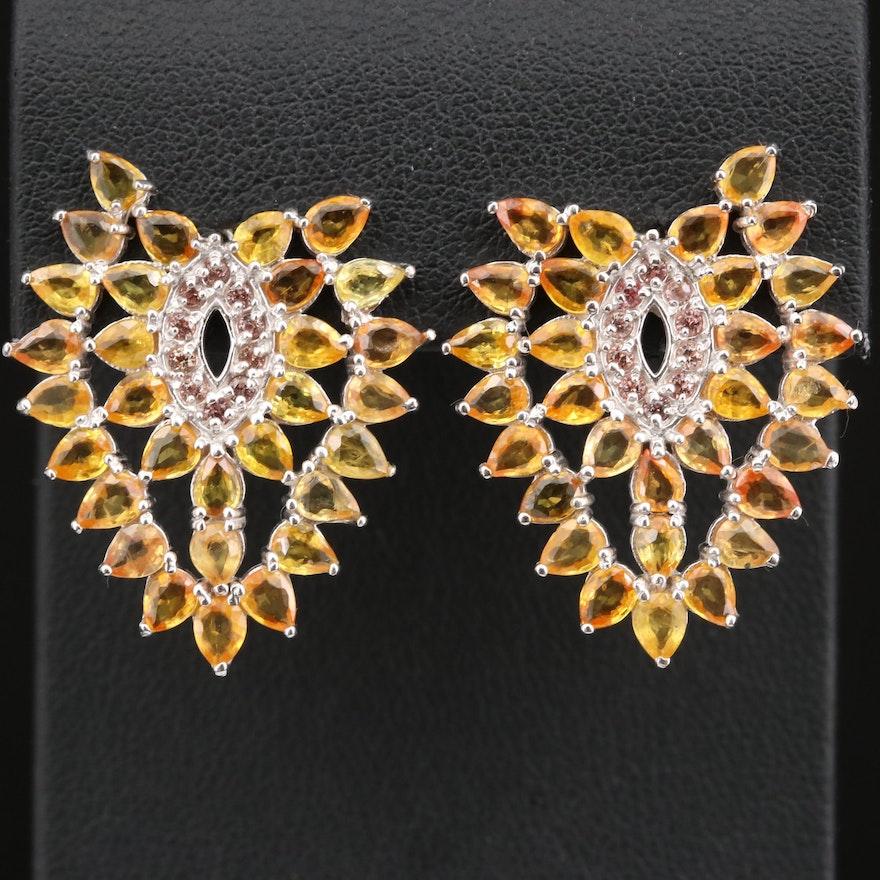 Sterling Silver Sapphire Cluster Earrings