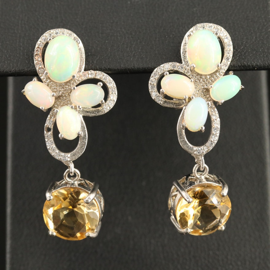 Sterling Opal, Citrine and Cubic Zirconia Dangle Earrings