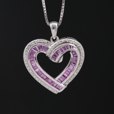 Sterling Silver Heart Pendant Necklace with Sapphire and Cubic Zirconia