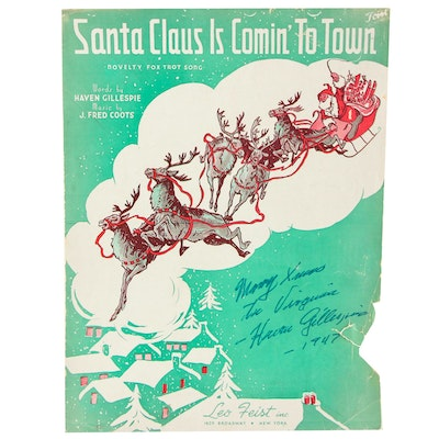 "Haven Gillespie (Composer) Signed ""Santa Claus Is Coming To Town"" Sheet Music"